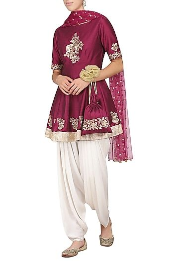 136f15c771fbc4 Ranian Featuring a wine peplum kurta in silk base with hand embroidery. It  is paired with matching net dupatta and ivory dhoti pants in satin crepe  base.