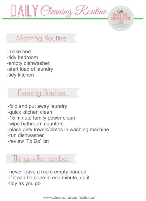Free Daily Cleaning Routine Printable and tips for keeping your home clean.  Blank printable available too to create your own!