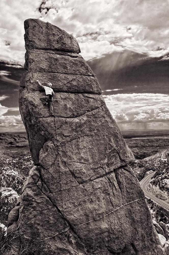 John Hinrichsen on Casanova (5.11-), on the Phallus, Mount Lemon, Arizona. Photo by Dan Heacock. Everyman's Exposed. The Best of 2011.  http://www.rockandice.com/photo-galleries/2011-mammut-photo-contest-winners?image=12