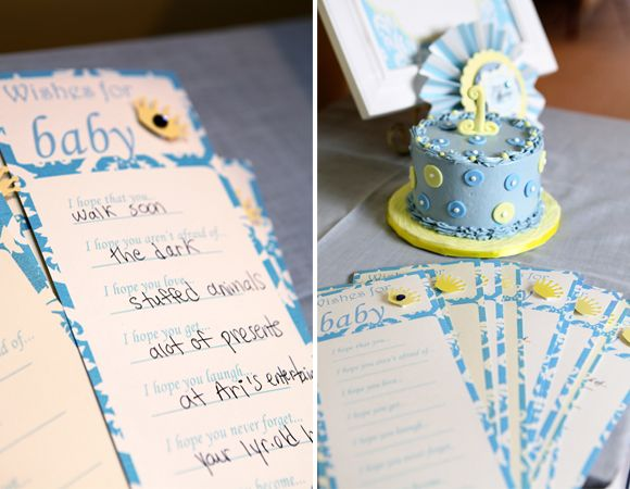 """love this idea of guests writing """"Wishes for Baby"""" - great for a shower or 1st bday!"""