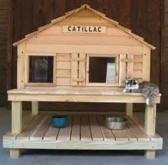 diy cat house outdoor - Google Search