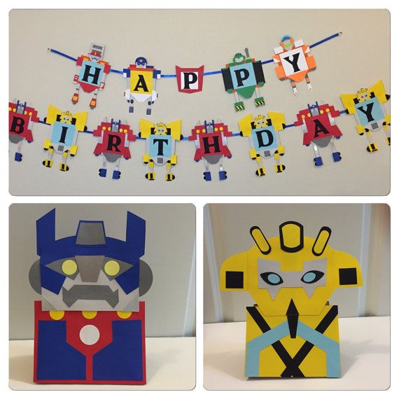 handmade HAPPY BIRTHDAY BANNER inspired by Transformer rescue bots