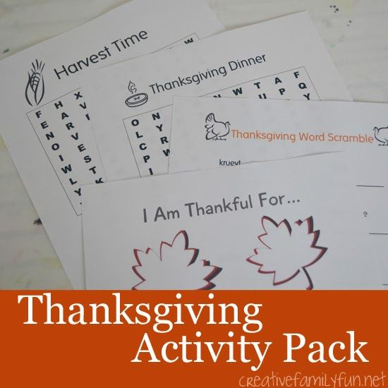 Thanksgiving Activity Pack ~ Creative Family Fun