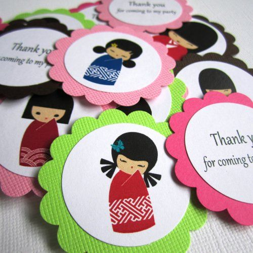 Japanese Kimono Kokeshi Girl Favor Tag Party Bag Label | adorebynat - Paper/Books on ArtFire