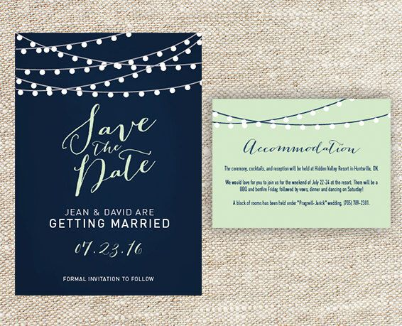 Navy Blue and Mint Green String Light Wedding Save the Date with Matching Accomodation Card by ktgrrlDESIGNS on Etsy https://www.etsy.com/listing/252512743/navy-blue-and-mint-green-string-light