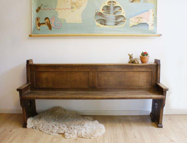 Originele antieke kerkbank. Zwaar houten vintage bank | Vintage meubels | Flat Sheep