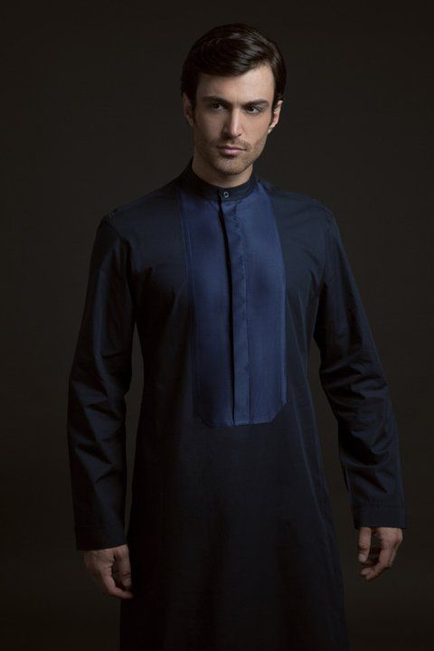 Black Kurta with navy blue patch