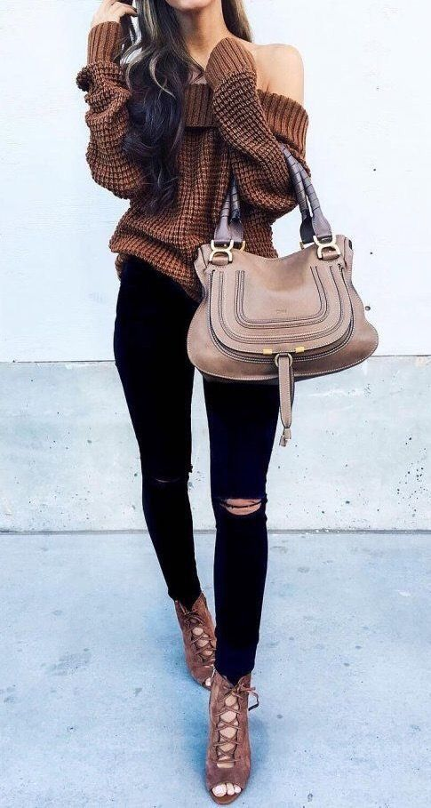 Brown sweater, boots and bag wuth dark jeans - LadyStyle - Top 25+ Best Cute Sweater Outfits Ideas On Pinterest Winter