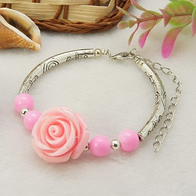 Fashion Bracelet, with Flower Resin Beads, Glass Beads, Tube Tibetan Style Beads, Alloy Lobster Claw Clasps and Tiger Tail, Pink