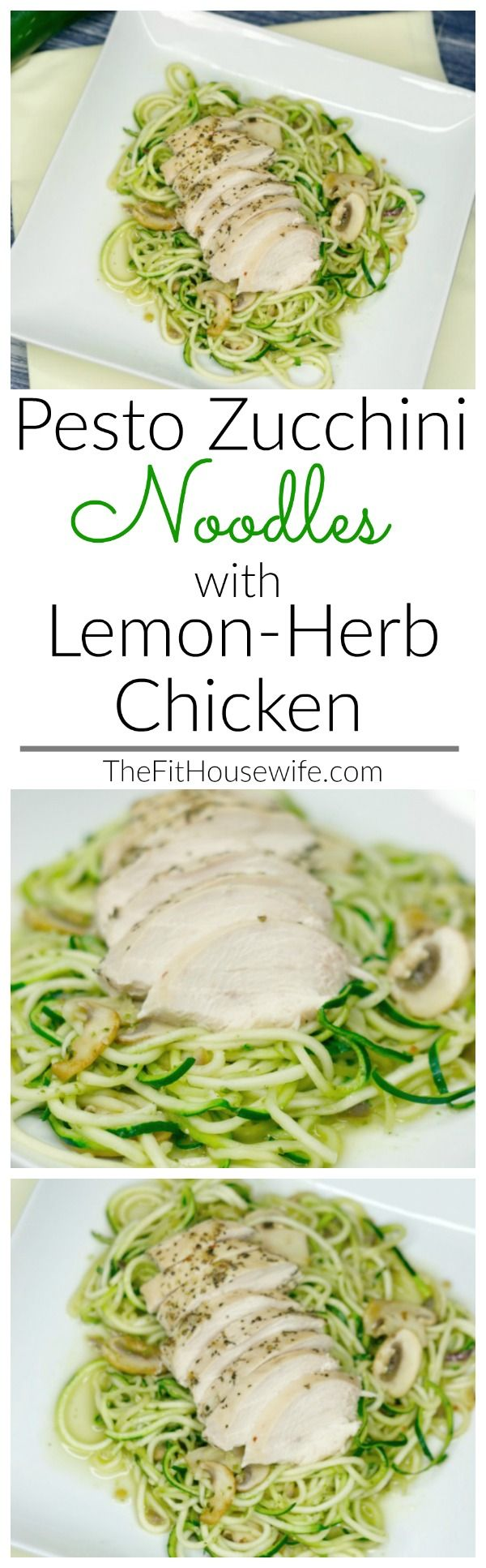Pesto Zucchini Noodles with Lemon Herb Chicken. A low-carb meal that is delicious and simple to make.