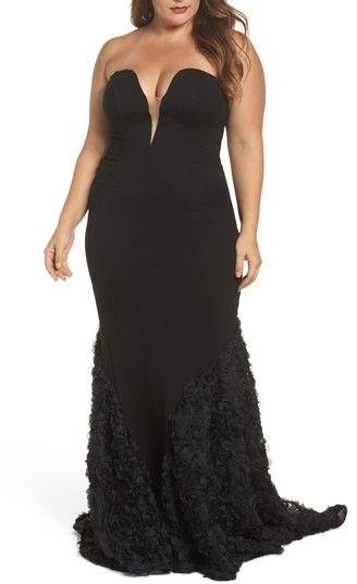 b641357cc0a1 Plus Size Women's MAC Duggal Strapless Bustier Rosette Gown | Plus ...