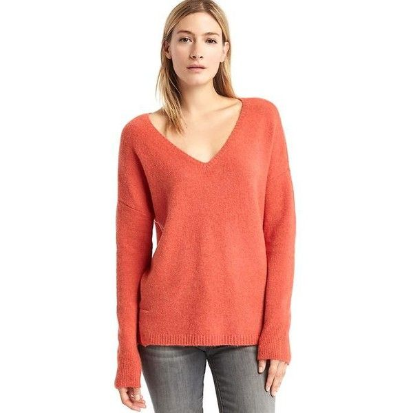 Gap Women V Neck Cozy Sweater ($50) ❤ liked on Polyvore featuring tops, sweaters, letterman orange, regular, side slit sweater, orange v neck sweater, v neck knit sweater, v-neck sweater and gap sweaters