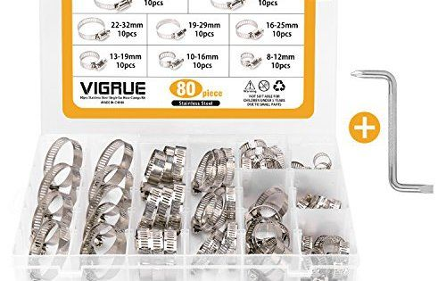 Collier de Serrage(80Pièces) – Ajustable en Acier Inoxydable Tuyau Pinces Clips Fixation – Vendu Par VIGRUE: 1- 304 acier inoxydable de…