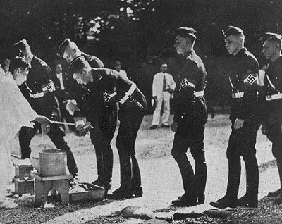 Hitler Youth members visiting the Meiji Shrine, Tokyo, Japan, Sep 1938.