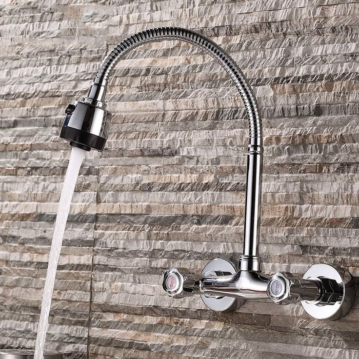 JOOE kitchen faucet Wall Mounted Dual Holder Dual Hole Hot & cold mixer water tap chrome torneira cozinha parede griferia cocina