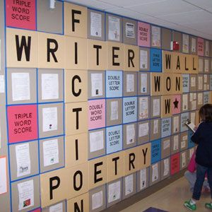 """Writing on the Wall"" Grade Level Hallway Display--Awesome, Awesome, Awesome idea! Would work well with Scrabble letters."