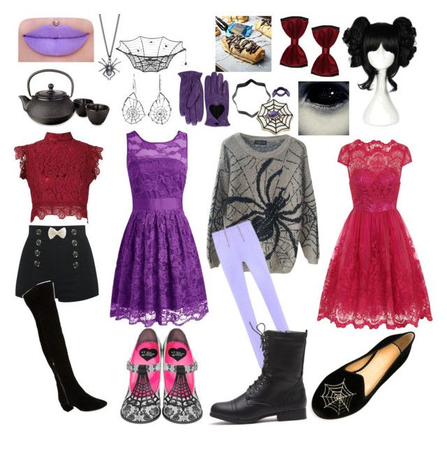 Undertale: Muffet by notasupervillian on Polyvore featuring polyvore fashion style Chi Chi Martha Medeiros Charlotte Olympia Nine West Ayaka Nishi Barneys New York Adagio Teas Wilton