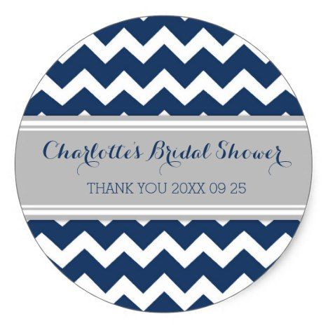 Grey Blue Chevron Bridal Shower Favor Tags #chevron #craft #supplies