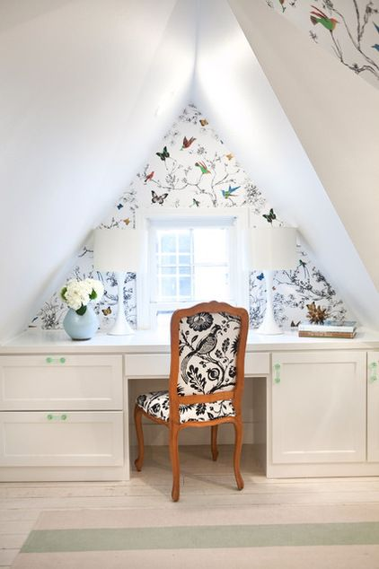 "Thank goodness wallpaper is coming back! --- Attic bedroom with Schumacher's ""Birds and Butterfies"""