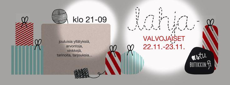 Butiikkien lahjavalvojaiset verkossa! http://www.facebook.com/lahjavalvojaiset  Visuaalinen ilme: Design Palet, Kirsi Niemelä