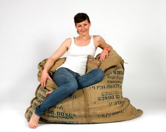 Coffee Bag Bean Bag Chair: Designed by Johanna Hansson, this comfy beanbag chair is made using eight used coffee bags.