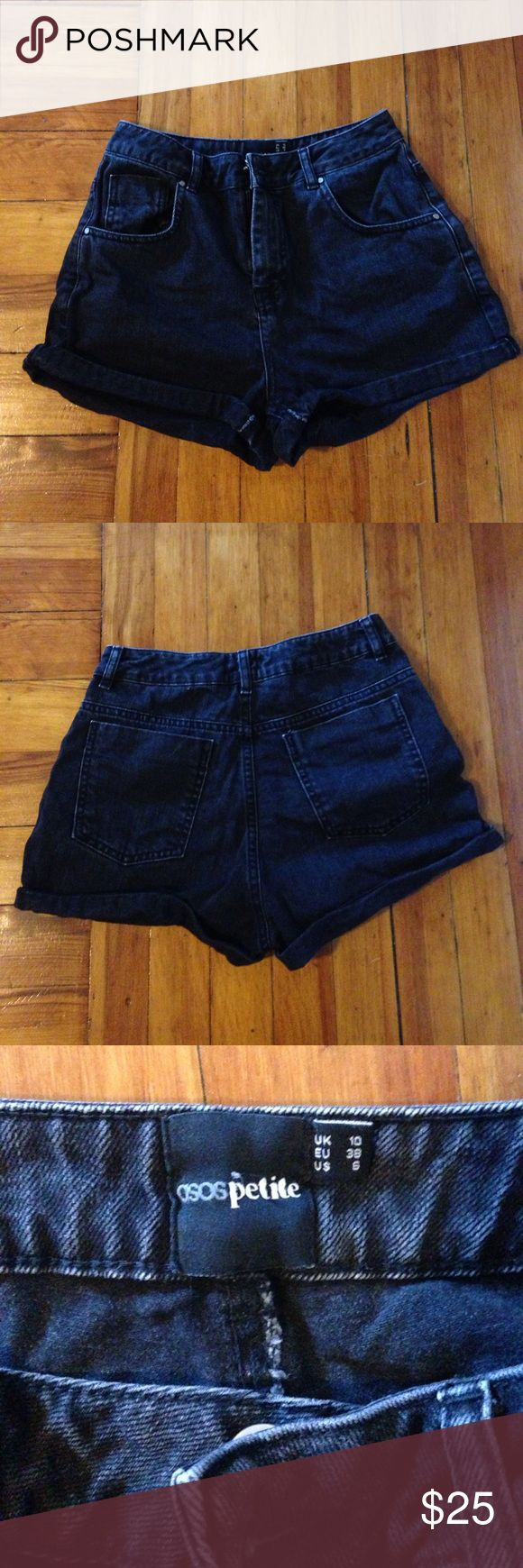 Asos Mom Jean Shorts Asos petite denim high waist Mom shorts. 100% cotton. These shorts are so cute. Only worn once or twice! US size 6. ASOS Petite Shorts Jean Shorts