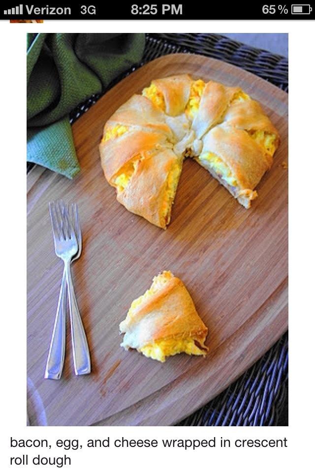 "Big egg bacon and cheese crescent...Made this for breakfast this morning & ""Whoa Nelly""....My hubby & ""Judy"" were in heaven!!!!"