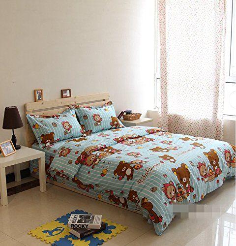 Amazon.com: LELVA Cartoon Bedding Sets, Bedding Sets Rilakkuma, Kids Bedding Girls Children's Duvet Cover Set (Blue, Twin): Home & Kitchen