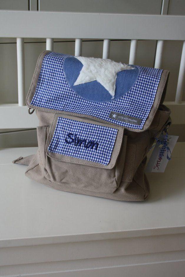 Kindergartentaschen - Kindergartentasche Rucksack mit Teddystern - ein Designerstück von STRUKTURWERK bei DaWanda