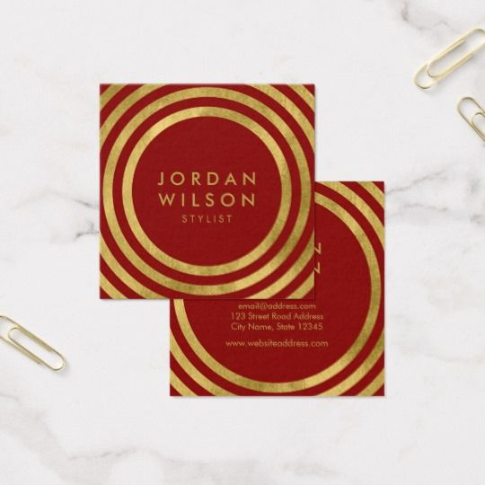 Elegant Red Faux Gold Round Lines Geometric Square Business Card By Rosewood And Citrus On Zazzle