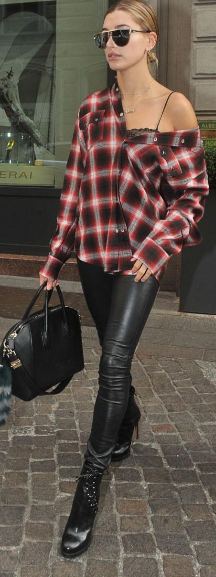 Who made Hailey Baldwin's red plaid shirt, black leather skinny pants, ankle boots, and handbag?