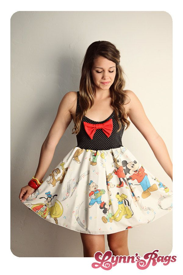 Disney Mickey Mouse Music BAND Tank Dress Black Red BOW Handmade. $55.00, via Etsy.