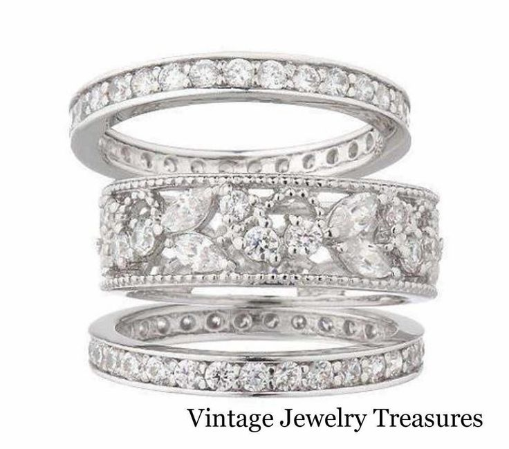 qvc epiphany diamonique lace design 3 piece stack ring set size 8 new in box - Qvc Wedding Rings