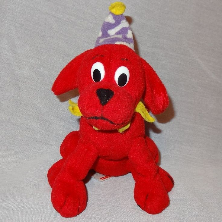 Clifford the big red dog with his party hat. Theme: Clifford. Item: Plush / Stuffed Animal. Condition: Pilling on felt. Material: Polyester Fibers plastic pellets. | eBay!