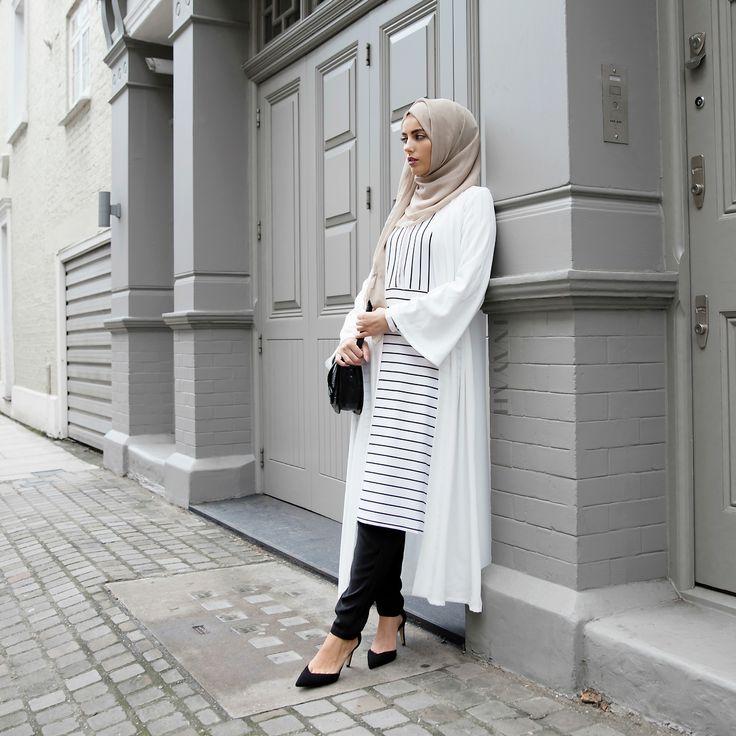INAYAH | White Georgette #Kimono + White and Black Pinstripe #Midi + Mushroom Georgette #Hijab + Black Tapered #Trousers