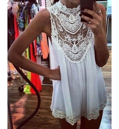 Floral Crochet Chiffon White Dress @celebrityfashionlookbook.com AU$39.99. So pretty, crochet neckline and hem.