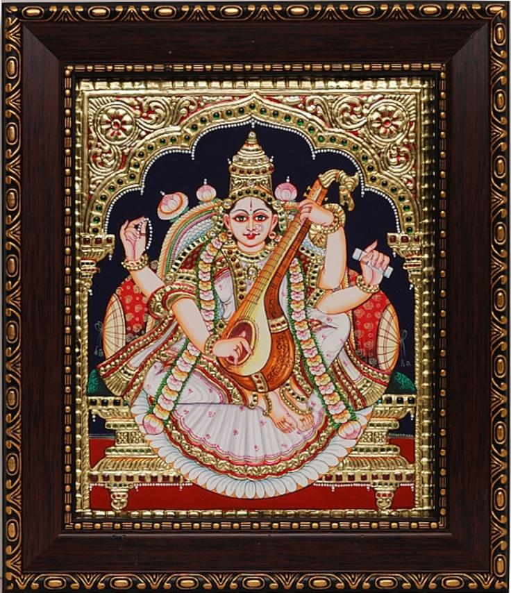 Tanjore Paintings - Saraswathi