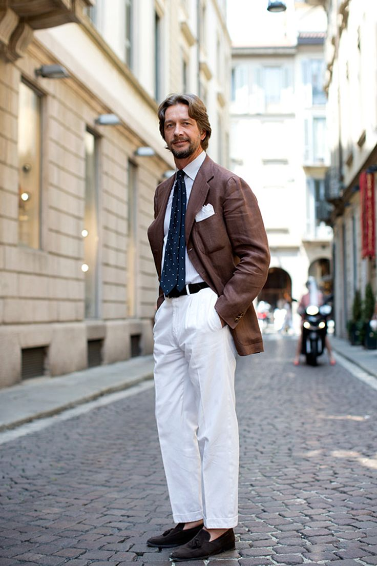 brown linen × white pants lookbook dotted tie sartorialist ...