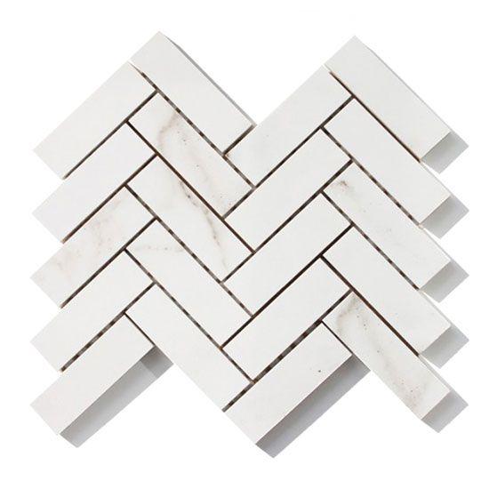 Carrara Herringbone in matt or gloss, in white.  340mm x 340mm