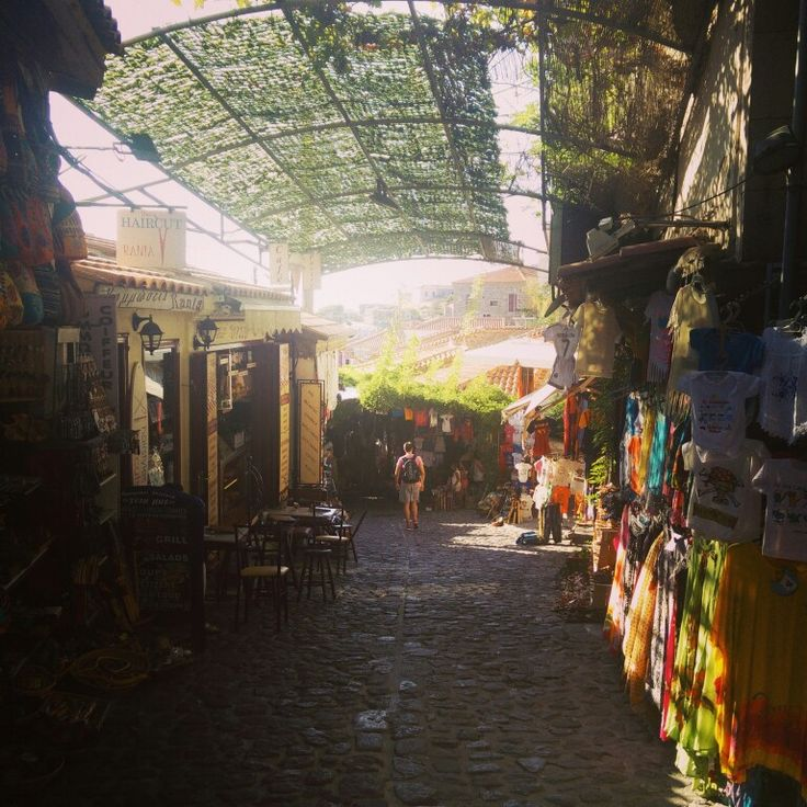 The beautiful streets of Molyvos, which lies on the hillside (Lesvos, Greece)