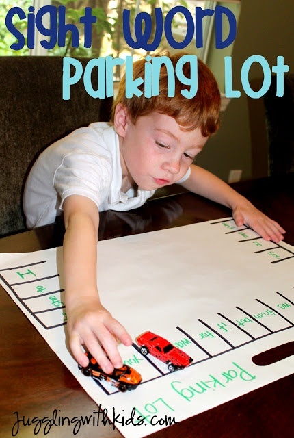 """This is a great way to turn something boring into something fun!  Have kids learn their sight words by calling out the sight word and having the kids """"park"""" the car in the appropriate parking space that matches the word being called out.  Jugglingwithkids.com"""