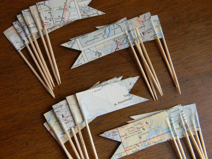 2 Dozen Cupcake Picks Vintage maps  //READY TO SHIP//. $10.00, via Etsy.
