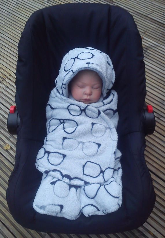 Car Seat Cosy Wrap Swaddle Blanket Baby Grey With Black Glasses Print