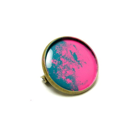 Pink and green enamel brooch copper 22mm by SunflowerBijou on Etsy, $11.00: Brooches Copper, Enamels Brooches, Copper 22Mm, Green Enamels
