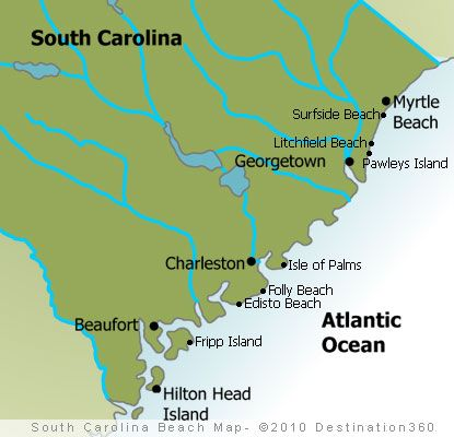 sc beaches | Map of South Carolina Beaches - South Carolina Coast Map. So many coastal towns to explore. Make your base Charleston.