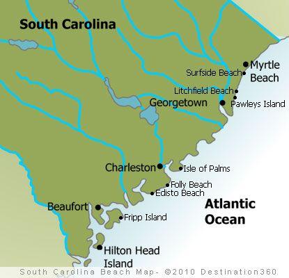 sc beaches | Map of South Carolina Beaches - South Carolina Coast Map. So many coastal towns to explore. Make your base Charleston.