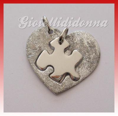 """Ciondolo PuzzleCuore Diamanto LEI/LUI coppia Argento 925 Puzzle """"heart puzzle"""""""