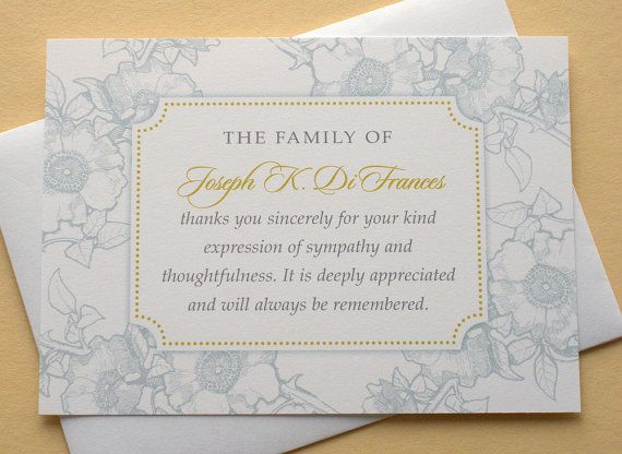 Custom made funeral thank you cards