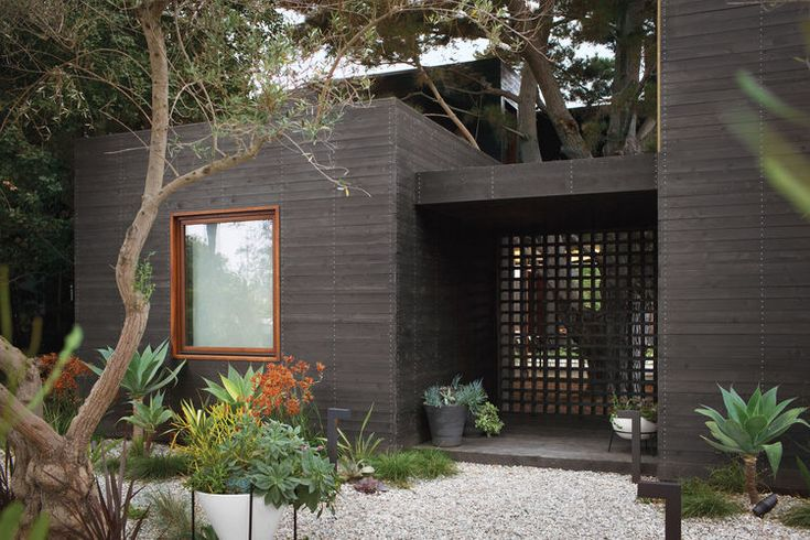 Stained cedar cladding on California home.