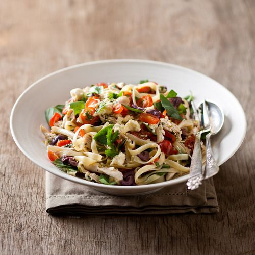 One of my favourite crowd-pleasing salads: Summer Linguine with a Cold Sauce of Poached Chicken, Tomatoes and Basil